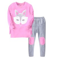 Wholesale Wholesale Terry Sweaters - Kids Sweater suit Big girl casual Sports wear Fox Applique Terry 2017 Autumn Spring Top + pant sets Pink Orange
