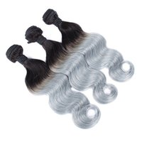 Wholesale human hair extensions gray for sale - Group buy Peruvian Human Hair Weaves Double Weft Ombre Color Bundles Body Wave B Grey Brazilian Virgin Hair Extensions Dark Root Gray Hair