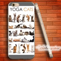 Wholesale Cat Iphone 4s Cases - Capa Yoga Cats Kittens Soft Clear TPU Case for iPhone 6 6S 7 Plus 5S SE 5 5C 4S 4 Case Silicone Cover.