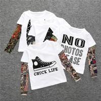 camiseta menina do hip hop venda por atacado-INS Crianças Roupas de Bebê Meninos Meninas T-shirt de Manga Longa Patchwork Hip Hop Moda Manga Tatuagem Tops Tees Crianças Roupa Dos Miúdos