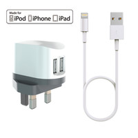 Wholesale Iphone Cable Mfi - HXINH CoolPowr 3.4A(17W) MFi Certified UK Travel Home Wall Charger Kit for iPhone 5 6 7 Plus iPad air pro with a 1M Lightning to USB cable