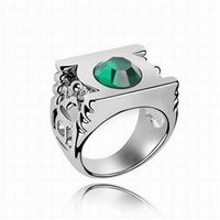 Wholesale Wholesale Green Lantern Rings - Fashion Mens Rings Gemstone Exaggerated Green Lantern Rings Austrian Crystal Wedding Rings for Women Branded Design Jewelry DHL