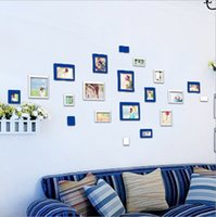 Wholesale Wall Acrylic Photo Frame - Acrylic Rectangular 3D Creative Photo Wall Stickers Home Room Background Decor Photo Frame Stickers Free Shipping