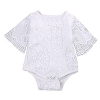 Wholesale baby clothing one piece - 2017 Summer Baby Girls Clothes White Bat Sleeve Lace Romper Infant Baby Elegant Jumpsuit Kids Clothes Sunsuit Outfits One-piece Clothing