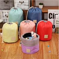Wholesale Korean String Bag - New Korean large Capacity Barrel Shaped Travel Cosmetic Makeup Bag Nylon Elegant Drum Wash Bags Organizer Storage Bags