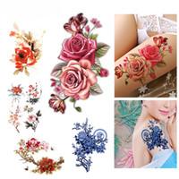 tatuaje temporal de la etiqueta al por mayor-Flor pájaro calcomanía falsas mujeres hombres DIY Henna Body Art Tattoo Design Butterfly Tree Branch Vivid etiqueta engomada del tatuaje temporal