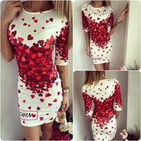 Wholesale Dress Spotted - 2017 new style heart-shaped printing dress spot sale of high quality and good quality