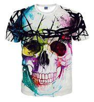 Wholesale Men S Skull Tie - Wholesale- Alisister Harajuku style flowers skull t shirt women men Crewneck print 3d t shirt fashion tie-dye t-shirt funny tee shirts