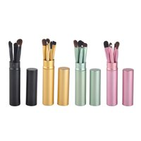 Wholesale hair synthetic pony for sale - Makeup Brushes Set Professional Pony Hair Make Up Brushes Eye Makeup Tool Cosmetic Kit with Round Tube set DHL FREE