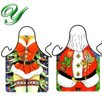 Wholesale Bibs Santa Claus - Mr. Miss. Santa Claus Red Bib Apron Christmas Father Decorations Holiday Party Costume Kitchen 56*72cm Polyester fabric 10pc for sexy couple