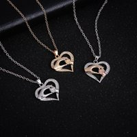 Wholesale two tone chain necklace - Two Tone Mother and Son Hand in Hand Heart Necklace Silver Gold Chain Heart Love Pendant Fashion Jewelry Gift Drop Shipping