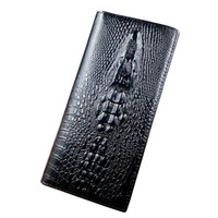 Wholesale card holder crocodile - Wholesale- High quality Real cowhide Genuine Leather Wallet, 3D Crocodile design long wallets for men, Fast Wholesale Dropshipping