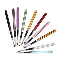 Wholesale copper brushes - 10 Colors Different Sizes Nail Art Brush Set With Copper Handle Design 10 Pcs Set Polish Nylon UV Gel Painting Nail Brushes