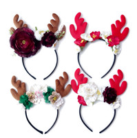 Wholesale Hairbows Character - Kids Girls Christmas Hair Hoops 2018 Deer Flowers Headbands for Little Girls Infant Toddler 4 Colors