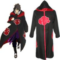 Wholesale naruto cosplay online - Uchiha Sasuke cosplay costumes Eagle snake Team hooded cloak Japanese anime Naruto clothing electronic embroidery red Cloud