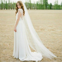 Wholesale Simple Veil Comb - New Arrival 2017 Tulle Bridal Veils With Comb One-layer Cut Edge 3 Metres Long Cathedral Veil Simple High Quality FWY001