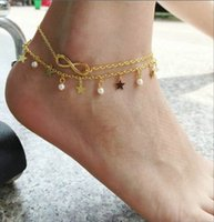 Wholesale Pearl Star Bracelet - Sexy Gold Star Anklet Bracelet With Pearl Bead Charm Jewelry Summer Beach Infinity Foot Ankle Chain Jewelry Free Shipping