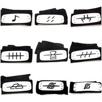 Wholesale naruto kakashi cosplay costume online - Naruto Forehead Band Anime Cosplay Costume Prop Accessories Comic Konoha Kakashi Akatsuki Members Headband High Quality xy WW