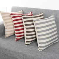 Wholesale linen stripe throw pillows for sale - Group buy Vintage Styles Decorative Pillowcase Stripe Cushion Cover Decor Fashion Cotton Linen Square Pillow Case Decorative Throw Home Textiles