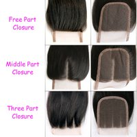 Wholesale Hair Closure Piece Deep Wave - 4x4 lace closure brazilian body wave Straight deep wave kinky curly 4x4 lace closure free part Midddle part three part closure 1 Piece