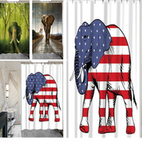 Wholesale elephant bathroom - New 3D Printing Shower Curtains 150x180cm Elephant Printed Waterproof Polyester Shower Curtain Bathroom Partition Curtains IA021