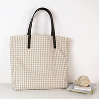 Plain Colored Plaid Canvas Tote Bag Cinturón de hombro Zipper Mujer Big Bag Venta al por mayor