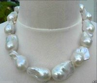"""Wholesale South Sea Huge Pearl - REAL HUGE AAA SOUTH SEA WHITE BAROQUE PEARL NECKLACE 18"""" 14K"""