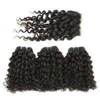 Wholesale Curl Human Hair Brown - Franc Curl Virgin Hair 4 Bundles with Lace Closure Natural Brown Brazilian Peruvian Indian Malaysian Cambodian Human Hair Bundles