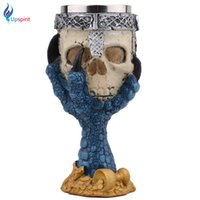 Atacado - Horror criativo Halloween Skull Hand Cálice Inoxidável 3D Esqueleto Knight Drinking Mug Beer Cup Home Bar Drinkware