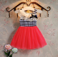 Wholesale Girls Red Gauze Dress - 2017 Summer New Girls Dress Lace Collar Stripe Gauze Princess Dress Children Clothing E1506