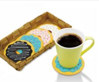 Atacado 4Pcs / set Kawaii Round Donut Coasters Drink Bottle Cerveja Beverage Cup Mats copo tapete plásticos coaster