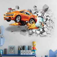 Wholesale Decration For Home - Wholesale New 3D football Car wall stickers creative wallpaper for children's room home bedroom decration free shipping
