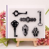 Wholesale Card Making Designs - Wholesale- key and lock hole design Transparent Clear Stamp DIY Silicone Seals Scrapbooking Card Making Photo Album craft liu062