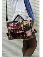 Wholesale Rose Oil Paint Bag - Fashion Retro Printing Rose Oil Painting Bags Women PU Leather Handbags Women Messenger Bags Shoulder Bags Clutch