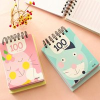 Wholesale Agenda Cat - Wholesale- 1PC lot 100 Day NEW Kawaii Korea Cat Rabbit Lion Coil notebook Diary agenda pocket book office school supplies