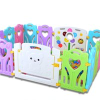 Wholesale games activities kids - 60*40cm Baby Playpens Multi-colors Connectable Heart-shaped Game Fence Environmental PE Indoor Children Security Playpen Kids Activity Gear