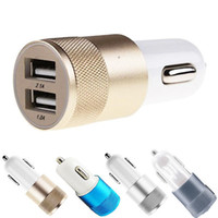 Wholesale Cheapest Car Usb Port - cheapest Mini Aluminum metal 12V 2.1A&1A Dual 2 Port Universal USB Car Charger Cable Adapter For iphone ipad Samsung Galaxy S6 S5