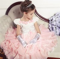 Wholesale Summer Dresses For Kids Sale - Formal Flowers Girl Dresses for Girls Wedding Party Dress Summer 2017 Layered Ruffles Patchwork Children Brand Kids Clothes Sale