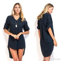 Wholesale Maxi Dresses Designs - Hot Selling women summer Clothing dresses personality swallowtail shirt design Fashion sexy girl dresses Size M L XL XXL XXXL 8331#