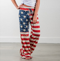 Wholesale Baggy Star Pants - Women Summer Drawstring Yoga Strappy Wide Leg Dancing Loose Casual American US Flag Long Pants Baggy Star Stripes Trousers S-XXL