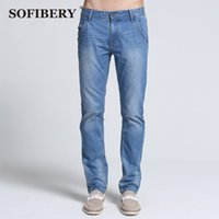 Wholesale Exclusive Jeans - Wholesale-SOFIBERY Brand quality summer slim fit fashion jeans Exclusive jeans straight slim waist medium business known men jeans