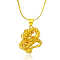 Wholesale Gold Dragon Pendants For Men - 2017 New Arrival Top quality Gold Dragon pendant necklace for man and women water wave chain Fashion jewelry