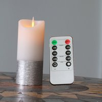 Wholesale Remote Controlled Spray - Christmas Decorative 10 Keys Remote Control Moving Wick Flameless LED Spray Painting Candle, 4.8 Inch Height