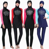 Wholesale Swimwear For Muslims - Muslim Swimwear women Islamic Swimsuits For Muslima Covered Swimsuits Long Sleeve Beach Wear Plus Size burkini