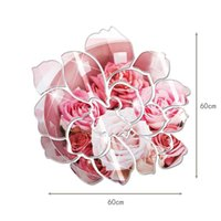 Wholesale Wall Stickers Peony - New Arrive wall mirror Peony Flower Mirror Wall Stickers 3D DIY Plastic Mural Art For Home Living Room Decoration espejos pared