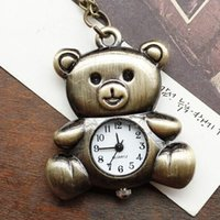 Unisex cartoons of nursing - Cute bear necklace restoring ancient ways of foreign trade green bronze cute cartoon bear antique pocket watch
