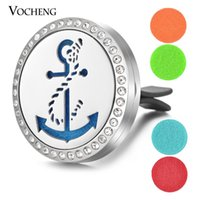 Wholesale Anchor Crystal Gifts - Car Perfume Locket 316L Stainless Steel Vent Clip Crystal Pendant Magnetic Anchor without Felt Pads VA-348