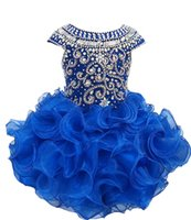 Wholesale National Glitz Dresses - National Girls Glitz Beaded Crystal Pageant Cupcake Dresses Infant Mini Short Skirts Toddler Tutu Girl Pageant Party Dresses
