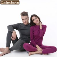 Wholesale Thin Male Thermal Underwear - Wholesale- Andturtleneck Men's Women's Thermal Underwear Sets Pure Cotton Male And Female Soft Thin Warm Long Johns In Autumn And Winter