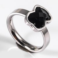 Wholesale Ring Onyx Black - TL gold plated silver plated stainless steel bear ring 2 colours for women high quality brand jewelry